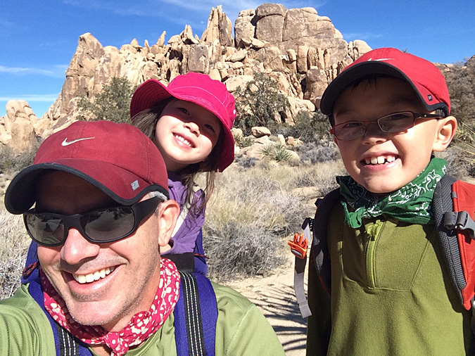 Hidden Valley trail family selfie. We don't always all wear red hats.