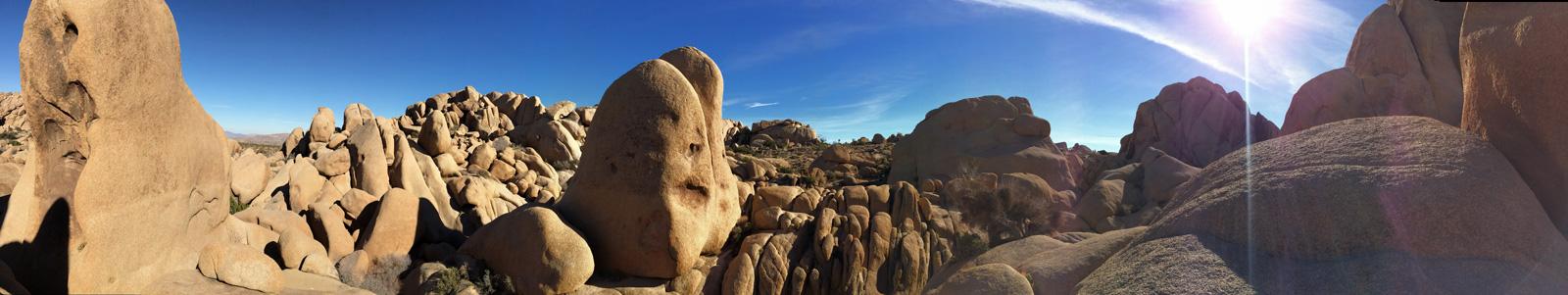 Alien landscape panorama near Jumbo Rocks.