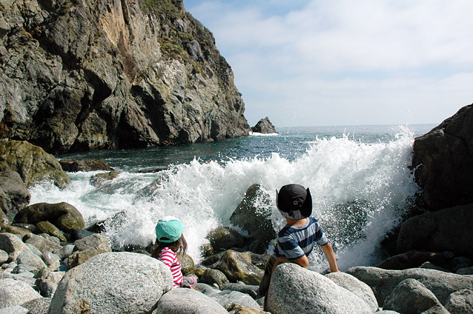 "The sign said ""Intermittent waves of unpredictable size and force"". No joke, be careful. Partington Cove, Big Sur"