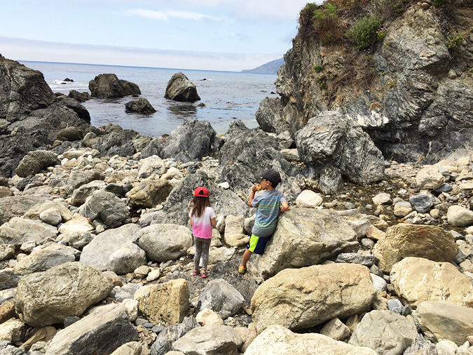 Exploring the beach at Kirk Creek Campground, Big Sur