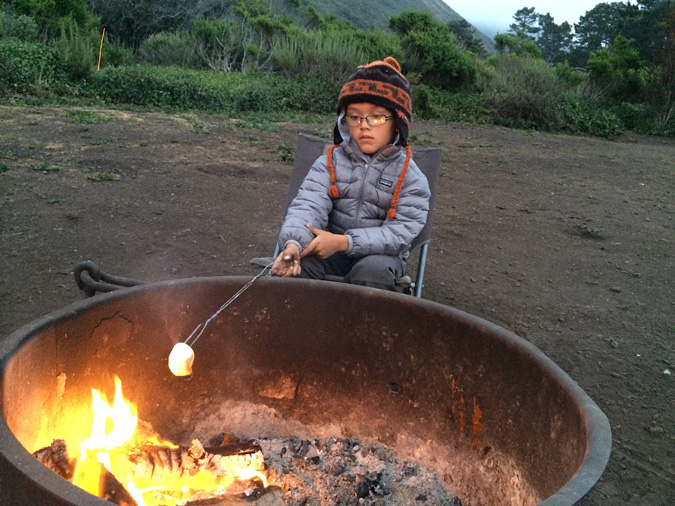 Zoning out by the campfire after a long day. Kirk Creek Campground, Big Sur