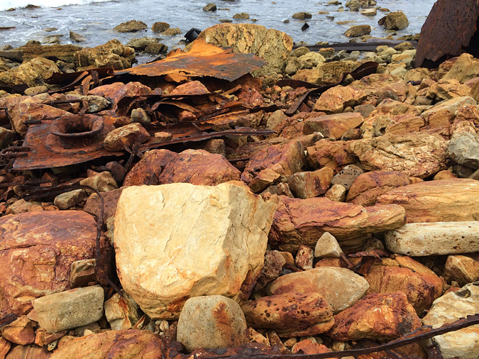 Rust-stained rocks