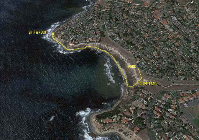 Google Earth view of the Palos Verdes Cove trail to the shipwreck