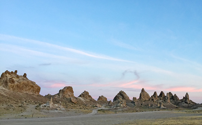 Sun setting on Trona Pinnacles